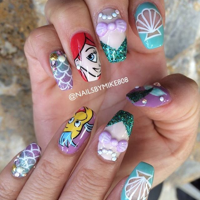 Nail Art Inspired By Disney S The Little Mermaid Nailakeup In 2018 Pinterest Nails And