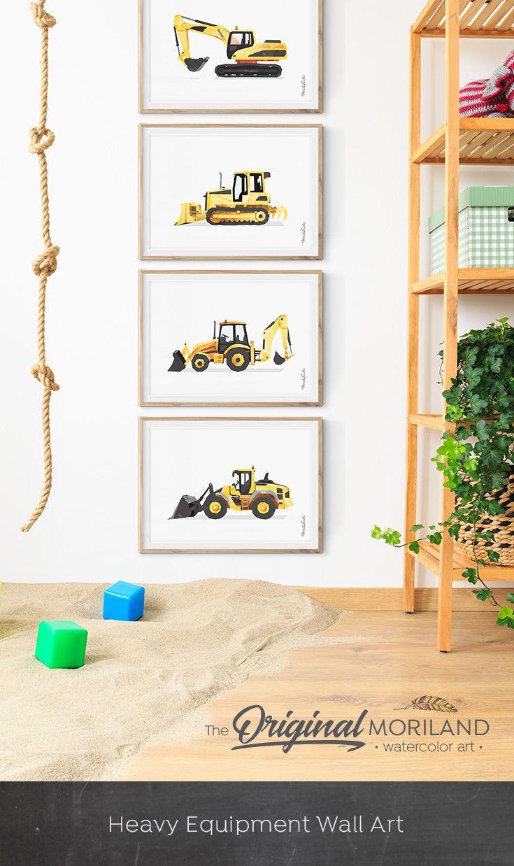 Backhoe Print Digger Art Construction Print Toddler Boy Etsy Toddler Boy Room Decor Toddler Boys Room Boy Room
