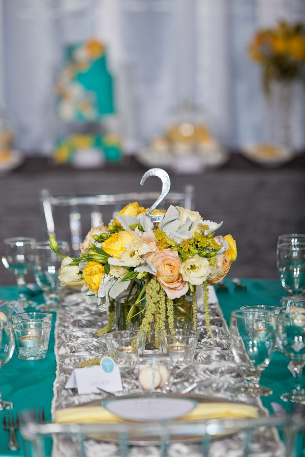 My Favorite Aqua Yellow Silver Wedding Env Photography Tablescape