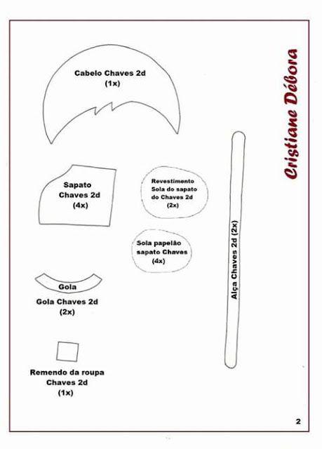 Chaves em feltro molde parte 2 - el chavo fieltro