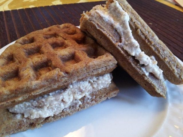 Cinnamon Roll Waffles Shared on https://www.facebook.com/LowCarbZen   #LowCarb #Breakfast #SugarFree #GlutenFree