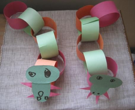 Paper Chain Dragons for Chinese New Year.