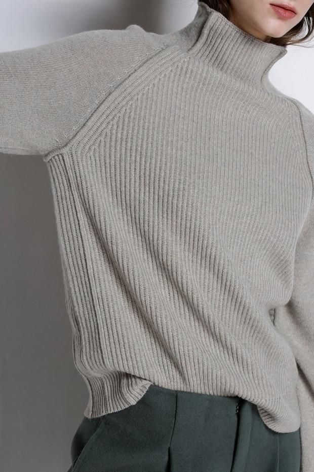 High Collar Cashmere Sweater Women Autumn Winter Thickened Pullover Knit Wool
