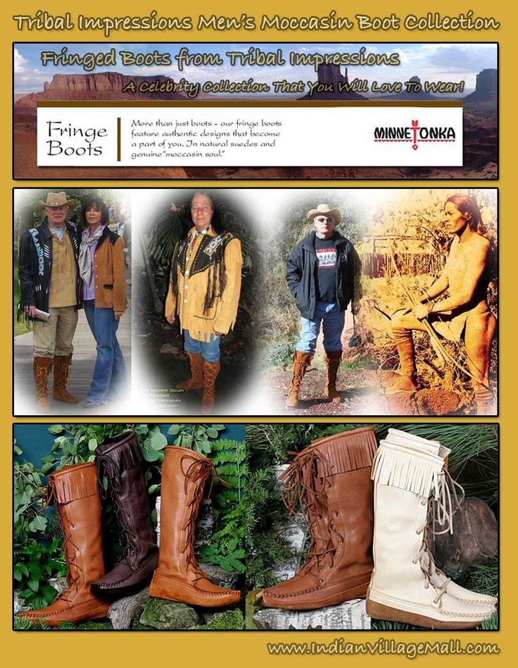 Tribal Impressions Men's Moccasin Boot Collection! Extensive Line -shop online off of: http://www.indianvillagemall.com/mocs/mboots.html