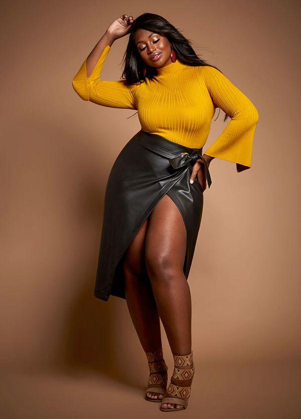 Saia de Couro - 17 Looks para usar nesse inverno | Acho Tendência | Yellow skirt outfits, Trendy plus size clothing, Plus size outfits