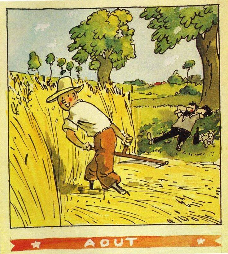 ¤ calendrier Herge Août 1944. Tintin fait les moissons. Le Capitaine Haddock fait la sieste. ..