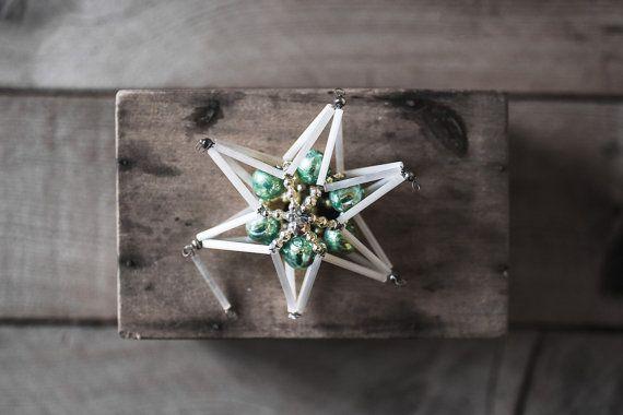 Antieke kerst Ornament Star Ornament Beaded glazen door 5gardenias