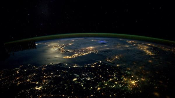 Italy, lone lightning strike, moonlight on the Med. Perfection. October 1, 2014