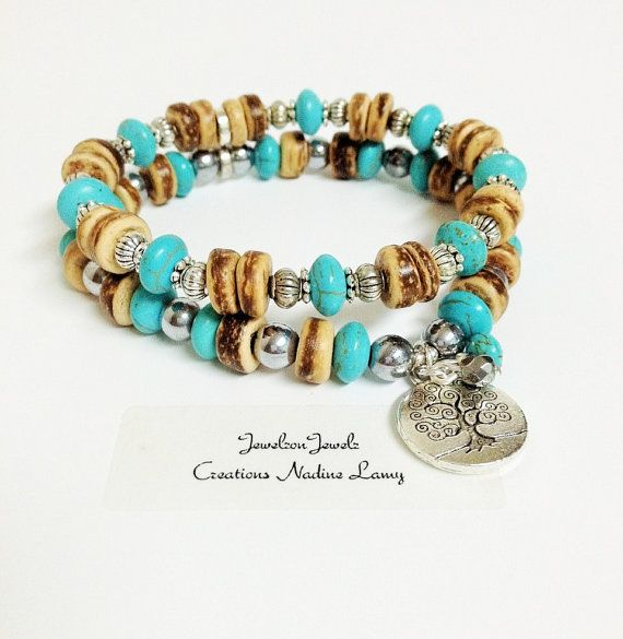 Tree of Life Turquoise Bracelet set//Coconut by JewelzonJewelz