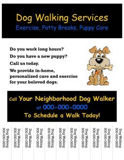 Dog Walking Flyer Kids Jobs Pinterest Business And