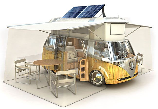 FUTURE TRAVEL? Alexandre Verdier designed this biodiesel hybrid camper with GPS-controlled solar panels.