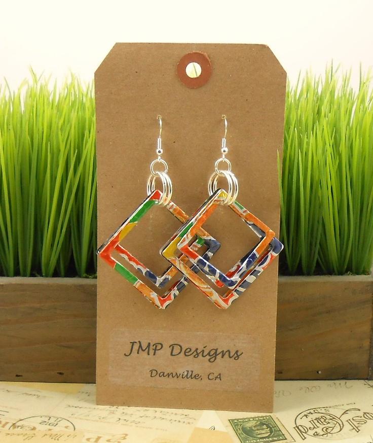 GEOMETRIC Earrings.  Recycled Soda Can Art.  DOUBLE-sided.  Orange Fanta. $10.95, via Etsy.