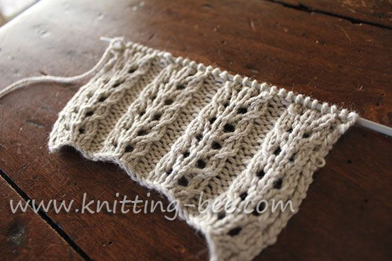 Gorgeous and easy free eyelet rib knitting stitch pattern. Abbreviations: k= knit p= purl yf = yarn forward k2tog = knit two stitches together sl = slip psso = pass the slipped stitch over Multiples of 7 plus 2 Row 1: p2 * k5, p2; rep from * to end Row 2: k2, *…