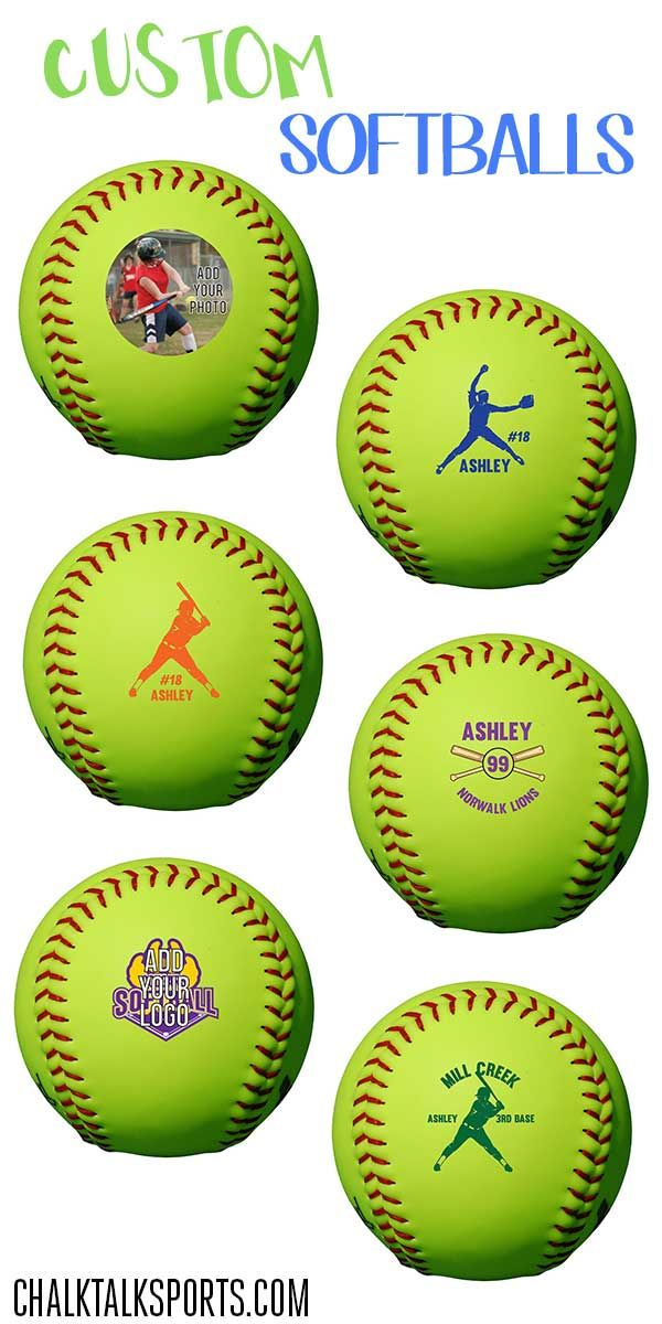 These custom softballs make great gifts for softball players!  Personalize with player name and player number, and you can even personalize with a photo!  Only from ChalkTalkSPORTS.com!