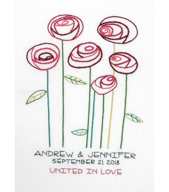Simple Roses Wedding Record Crewel Embroidery Kit-9