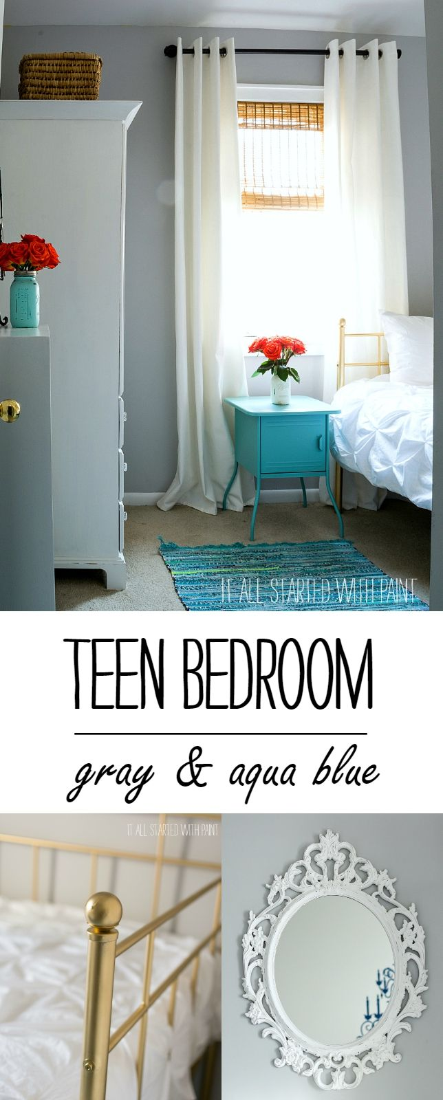 Teen Girl Bedroom In Gray And Aqua Colors Curtain Rods