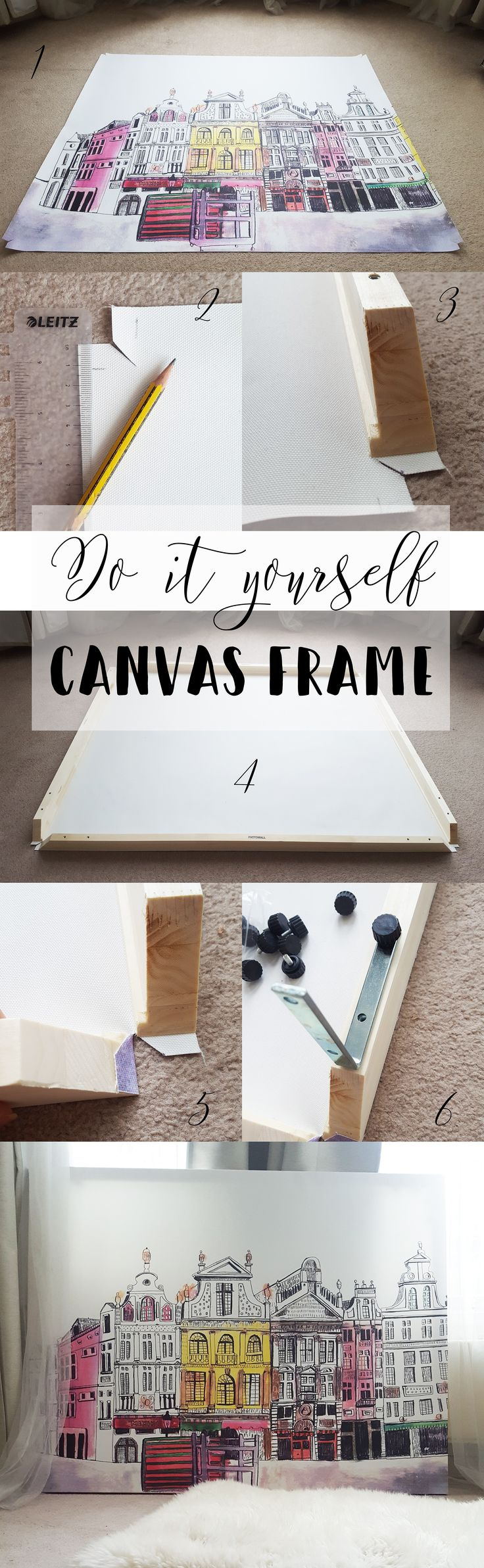 Oversized canvas from Photowall. Check out how I make it in 6 simple steps!#Photowall,#Brussels,#homeinspiration,#brusselspainting,#cosyhome,#homedecor,#pinkdecor#diycanvas#wallart#homeinspo