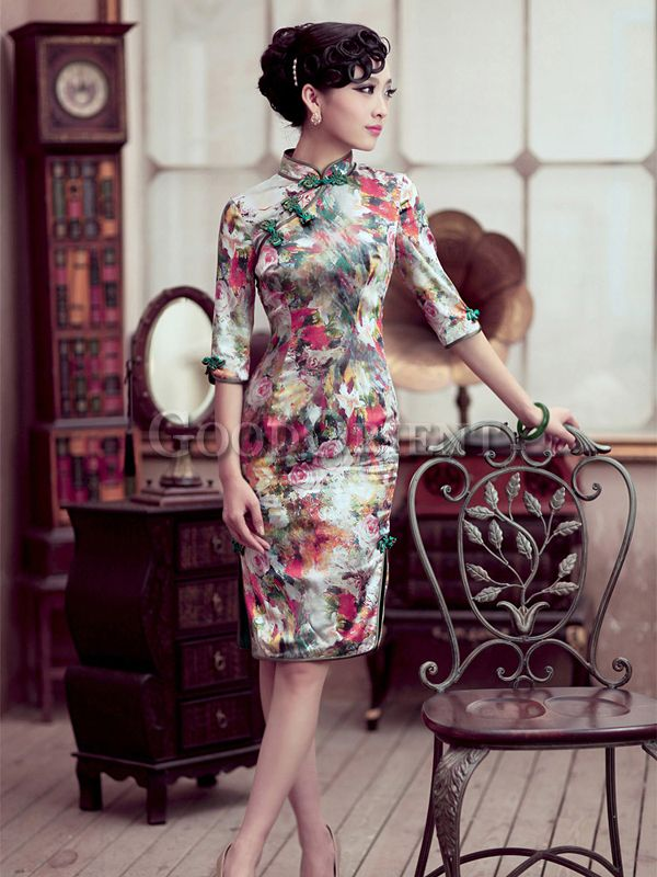 """Flowers impression"" style chinese dress"