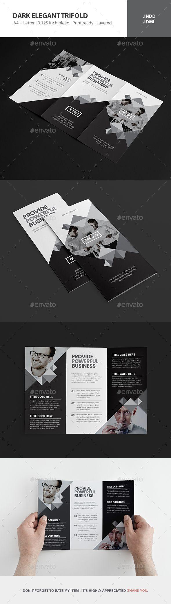Dark Elegant Trifold Brochure Template InDesign INDD
