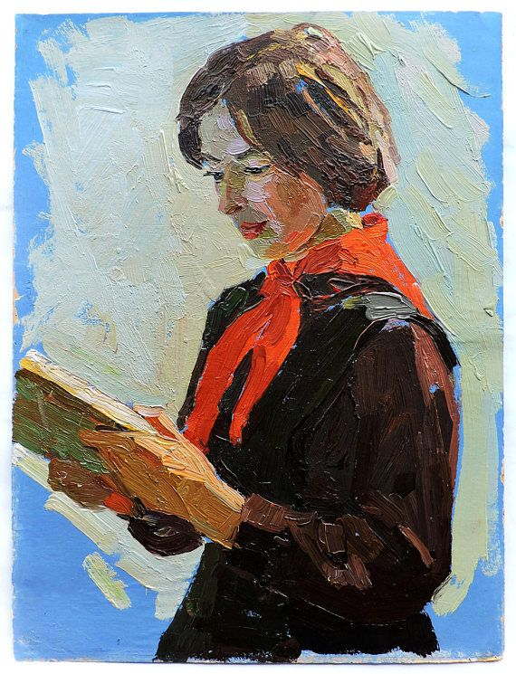 VINTAGE FINE ART  ORIGINAL OIL PAINTING  Portrait of a Girl / Female Portrait  Socialist Realism  One of a kind artwork  This very nice vintage portrait of a girl with a book is an original artwork by a Soviet Ukrainian artist Solodovnikov A.P. (1928 - 2017).  This portrait was painted in 1970s. It was acquired from the personal collection of the artist Solodovnikov.  MATERIALS: oil, board MEASURES: 38 cmH x 29 cmW ( 15 x 11,4 inch ) CONDITION: good vintage condition, you can see all edg...