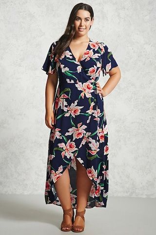Forever 21+ - A woven maxi wrap dress featuring an allover floral print, a surplice neckline with a snap-button closure, self-ties at the side, a high-low hem, and short flounce sleeves.