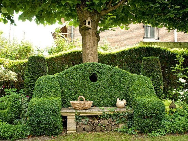 Beautiful Stone Bench W Topiary Back