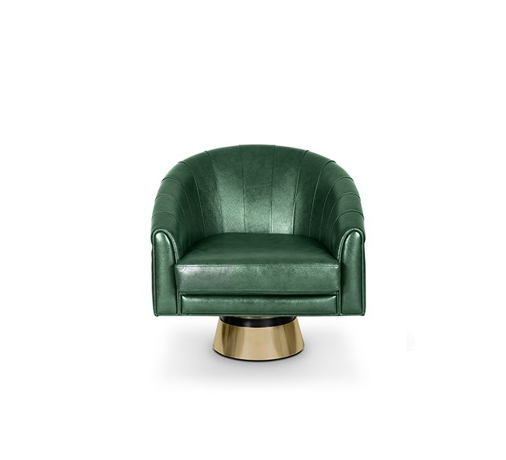 As you sit in this armchair, you are immediately taken to a more relaxed way of living. The soft neutral green color of the chair, very popular in the 60's, gives it a modern and lighter touch. The polished brass base of this chair adds a classy touch to any kind of living room. The detailed upholstery in the back and armrest convey a sense of refinement and juxtaposition, while the rotaAng base makes this piece magical and sophisticated.