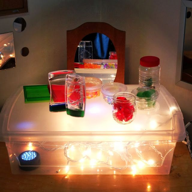 """Home made light box at Acorn School, image shared by Transforming our Learning Environment into a Space of Possibilities ("""",)"""
