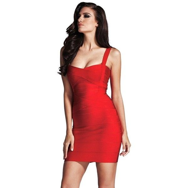 New Simple One Color Bandage Dress ($179) ❤ liked on Polyvore featuring dresses, bodycon dress, red sleeveless dress, red bandage dress, sleeveless bodycon dress and short dresses