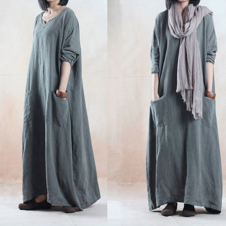 Gray Long Sleeve Dress Autumn Loose Linen Robe