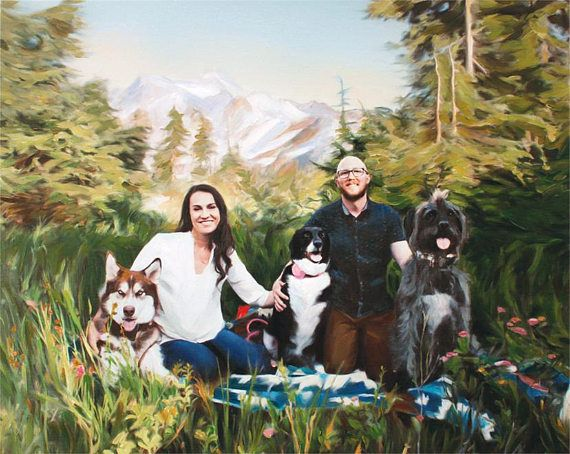 Dog Custom Family Portrait on Canvas from Photo Family Painting Valentine's Gift Idea #valentinesday Home decor by AnastassiaArt MyOpenStudio.ca
