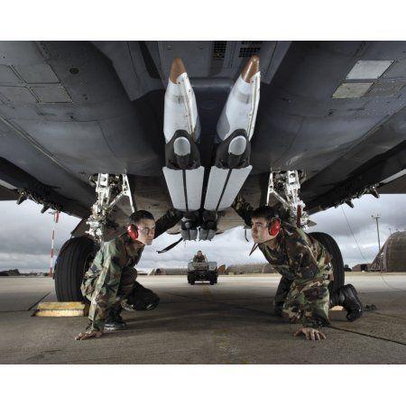 Airmen check the GBU-39 small diameter bombs loaded on an F-15E Strike Eagle Canvas Art - Stocktrek Images (31 x 25)