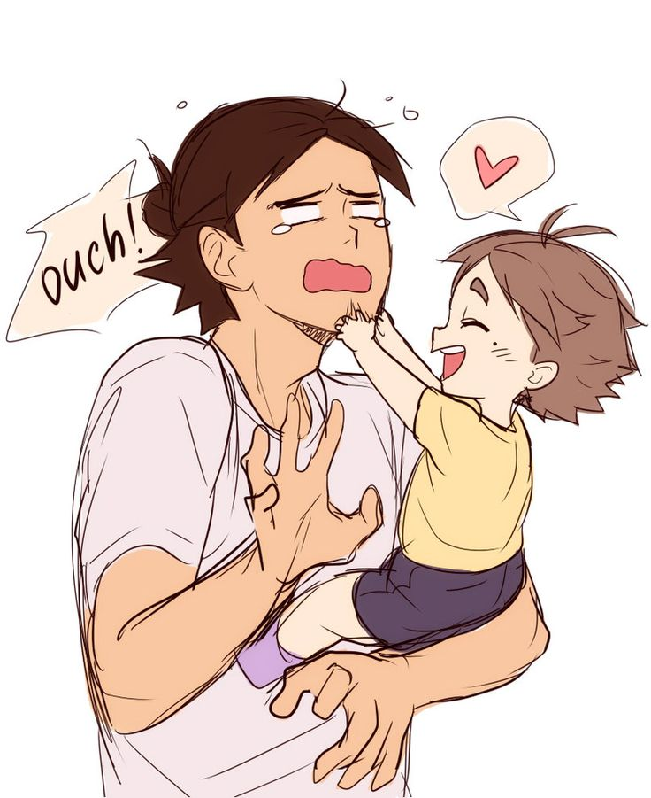 Haikyuu!! Asahi with little Suga (bonus pic) by Suncelia on DeviantArt