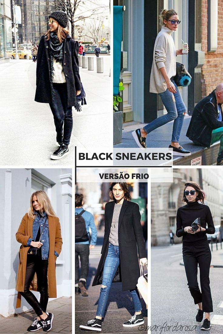 looks com tênis preto - black sneakers