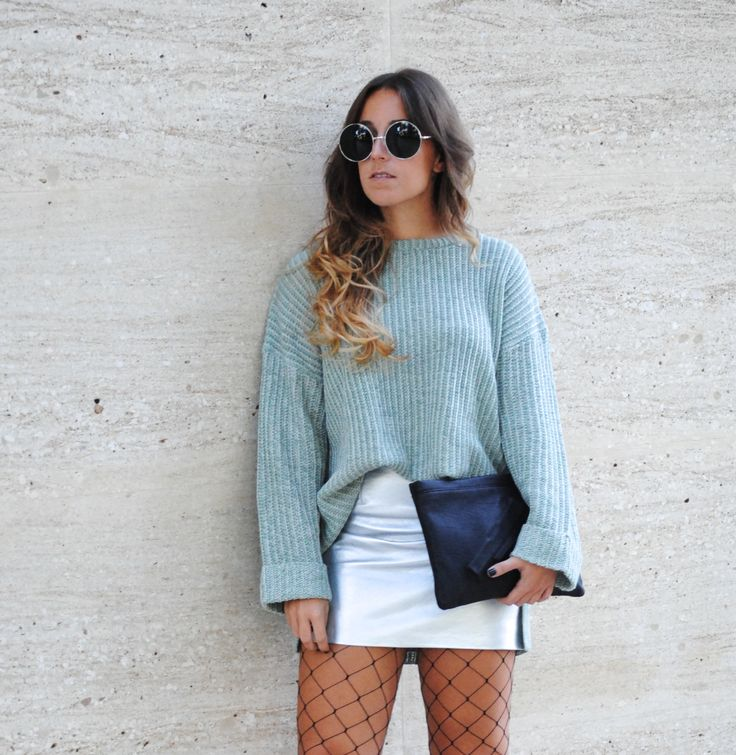 Metallic Mini Skirt and Fishnet Tights. Cool fall outfit. Trends.  Trendencies