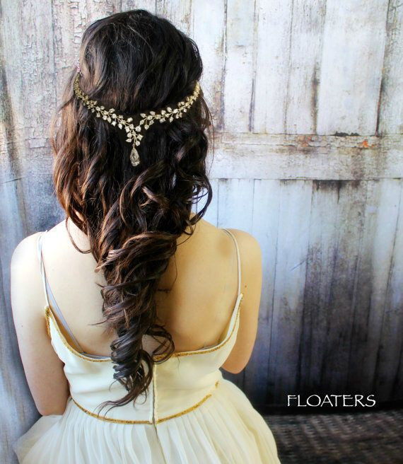 Bridal hair vine, wedding hair accessories, gold headpiece, gold hair vine, bridal hair wreath, wedding accessories by HairFloaters on Etsy https://www.etsy.com/listing/219003542/bridal-hair-vine-wedding-hair