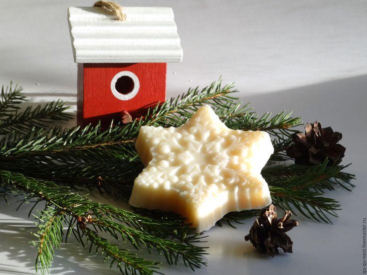 Купить БелоСнежное мыло - натуральное мыло с ванильным ароматом - белый, красно-белый, снежинка