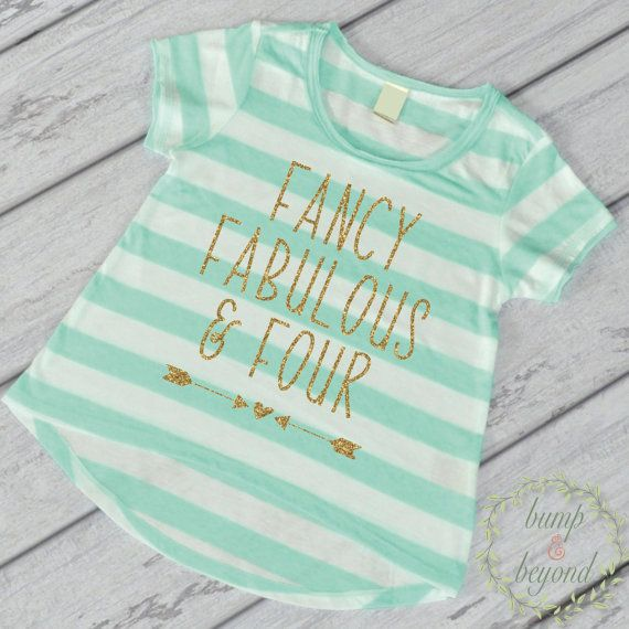 Fancy, Fabulous and Four, Fourth Birthday Shirt - This adorable high-low short sleeve top makes a great birthday outfit or photo prop! It features an all-over stripe print for a fun chic look. It's ma