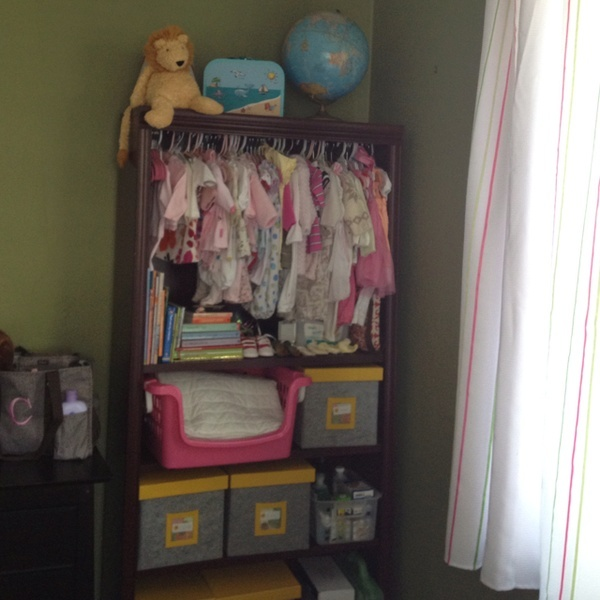 DIY Closet Converted From Bookshelf , Vintage Globe, Clearance Felt Boxes  For Storage And Lots Of Vintage And Thrift Store Baby Clothes!