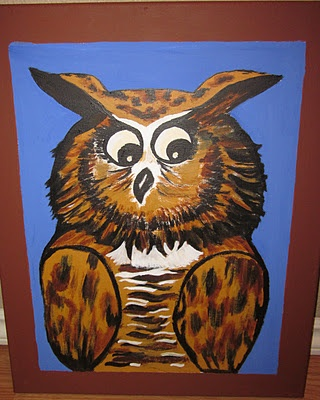 The Mr. Dressup Wise Old Owl painting I made for my daughter's 4th birthday.