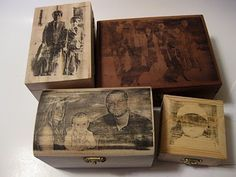 Love this idea- wooden boxes, photocopied picture and an iron- inexpensive and very cool