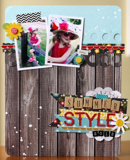 Summer Style - Emily Spahn // Pebbles: Walnut Grove, Scrapbook Inspiration, Summer Style, Scrapbook Galleries, Crafty Scrapbook, Scrapbook Layout, Style Pebble, Paper Crafts, Pebble Layout