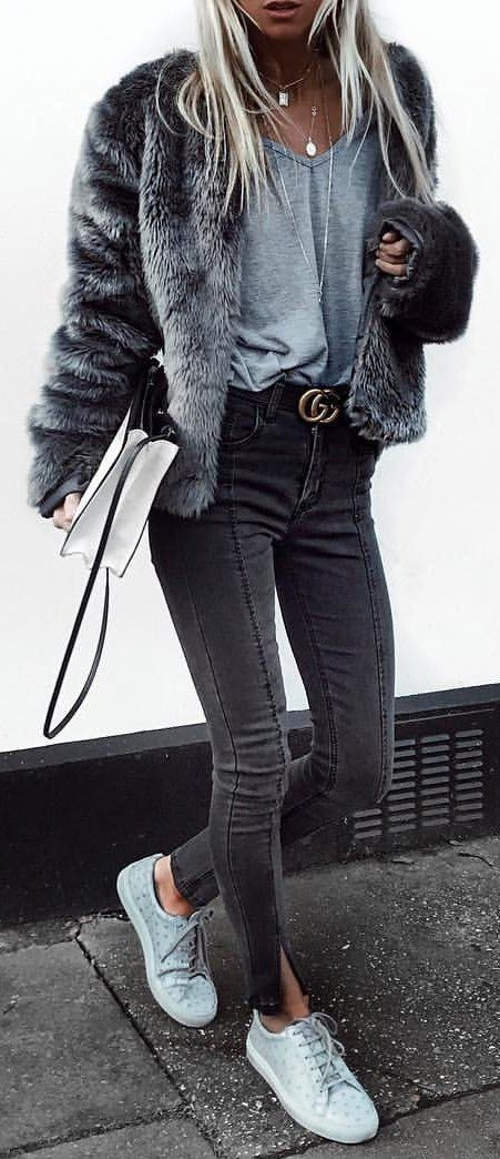 #winter #outfits grey fur zip-up coat and black skinny jeans