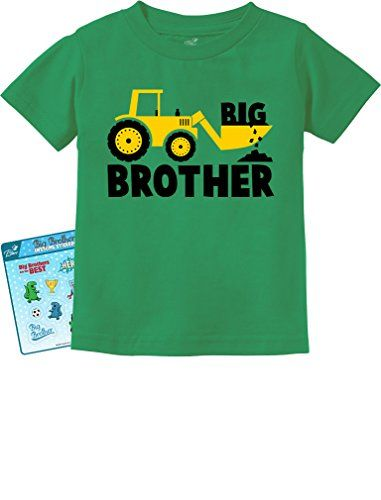 TeeStars - Big Brother Gift for Tractor Loving Boys Toddler/Infant Kids T-Shirt 6M Green