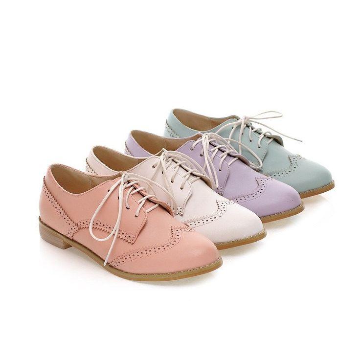 Women Flats Lace Up Cutout Shoes 4689
