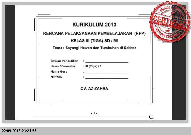 [File Pendidikan] PERANGKAT PEMBELAJARAN KURIKULUM 2013 KELAS 3 SD SEMSTER 1 dan 2 LENGKAP [SEMUA TEMA]