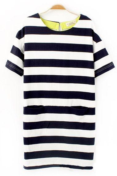 Stripe Shift Dress With Pockets