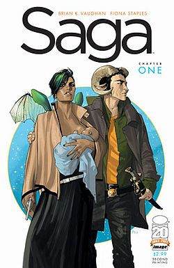 Saga, by Brian K. Vaughan & Fiona Staples. Click on the cover to read a review of this title by Shauna.