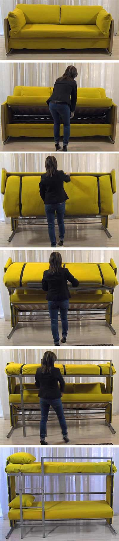 Bunk bed and couch in one - amazing engineering from Italy!