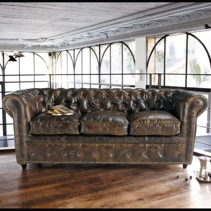 Canapé cuir marron Vintage